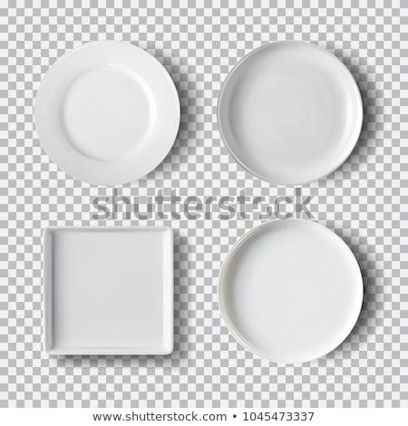 Fehér tányér izolált átlátszó konyha edények Stock fotó © Fosin