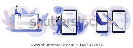 Büro Papier Unterzeichnung Person Symbol Vektor Stock foto © robuart