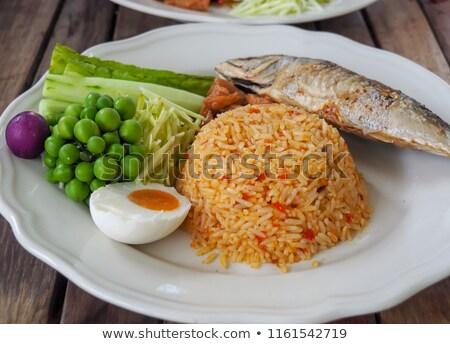 жареный · риса · скумбрия · рыбы · куриные · красный - Сток-фото © szefei