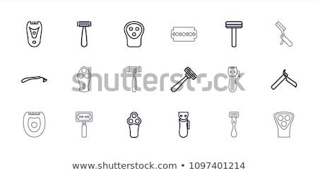 Biztonság borotva ikon árnyék tükröződés terv Stock fotó © angelp