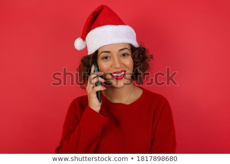 Portrait of gorgeous woman wearing hat speaking on smartphone, w Stock photo © deandrobot