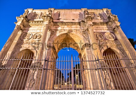 Arch of Constantine square in Rome evening illuminated view Stock photo © xbrchx