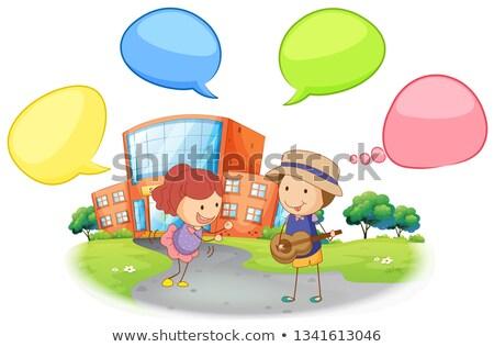 Diák iskola szöveglufi illusztráció épület tájkép Stock fotó © colematt