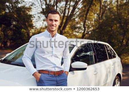 отражение · стороны · зеркало · автомобилей · человека · вождения - Сток-фото © deandrobot