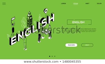 english language   line design style isometric web banner stock photo © decorwithme