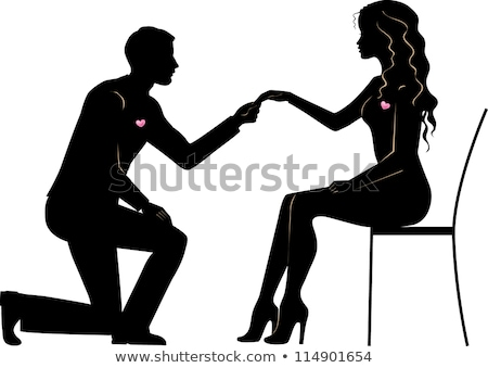 Loving couple woman and man kneeling in profile Stock photo © UrchenkoJulia