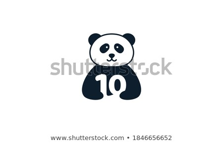 Number ten with panda character Stock photo © colematt