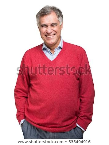 случайный зрелый человек счастливым Постоянный белый глядя Сток-фото © pressmaster