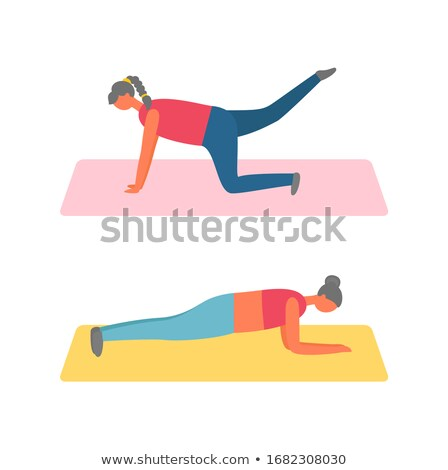 Fitness and Sport, Girl Lifting Legs on Mat or Rug Stock photo © robuart