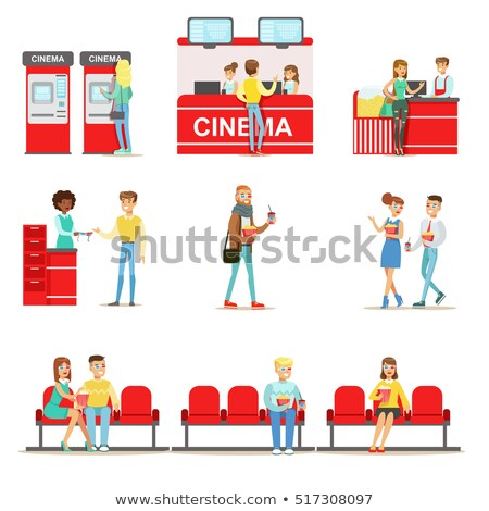 Cinema Counter Seller Selling Food. Vector Snacks Stock photo © robuart