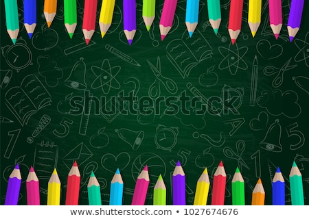 Stockfoto: Blackboard · gekleurd · potloden · terug · naar · school · schoolbord · tekst