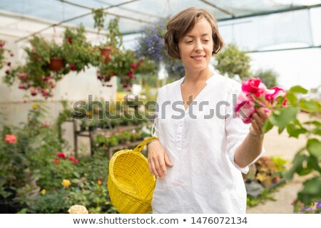 happy young female owner of floral shop wit basket looking at bunch of petunia stock photo © pressmaster