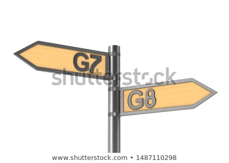 guidepost with sign G7 and G8 group on white background. Isolate Stock photo © ISerg