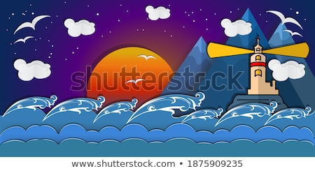 cartoon paper landscape mountain cloud sun star moon sky stock photo © rwgusev