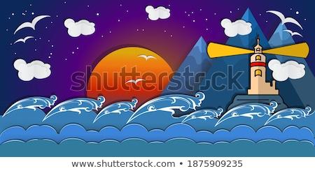 Zdjęcia stock: Cartoon · papieru · krajobraz · górskich · Chmura · słońce