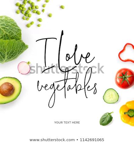 Groene veganistisch vegetarisch gezonde voeding citaat ingesteld Stockfoto © cienpies