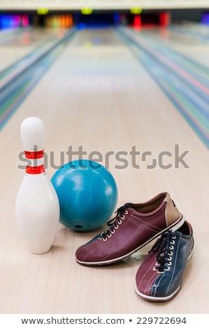 Oynama mavi bowling oyun bowling topu hızlandırmak Stok fotoğraf © tilo