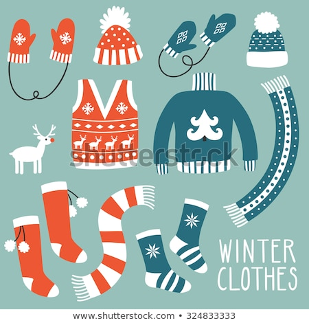 Winter Hat Clothing Accessory Retro Set Vector Stock photo © pikepicture