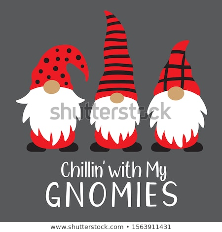 Christmas card with funny gnome Stock photo © balasoiu