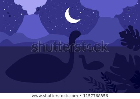 Natation dinosaures nuit nature scène panorama Photo stock © barsrsind