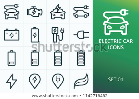 Bliksem batterij icon vector schets illustratie Stockfoto © pikepicture