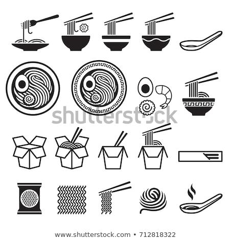 Japoński zupa łyżka płyty pałeczki do jedzenia kamień Zdjęcia stock © karandaev