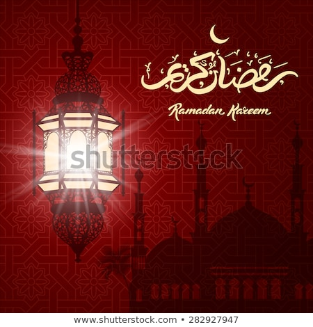 glowing red ramadan kareem background with mosque Stock photo © SArts