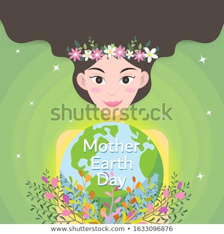Poszter terv anya föld napja Föld emberi kéz Stock fotó © bluering