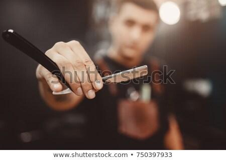 Férfi fodrász egyenes borotva haj emberek Stock fotó © dolgachov
