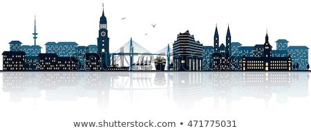 Abstract hamburg skyline kleur gebouwen Stockfoto © ShustrikS