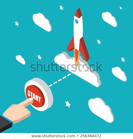 Piros rakéta kezdet indulás gomb karrier Stock fotó © AndreyPopov