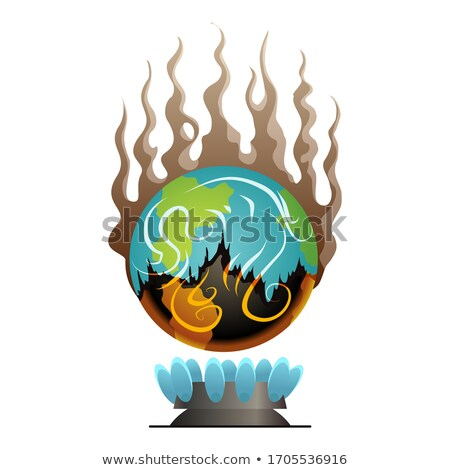 Earth global warming. Vector planet over the fire. Warning ecology poster. Concept global drought. P Stock photo © designer_things