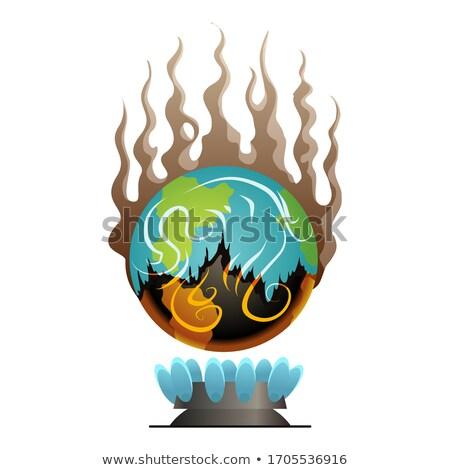 Ziemi globalne ocieplenie wektora planety ognia ostrzeżenie Zdjęcia stock © designer_things