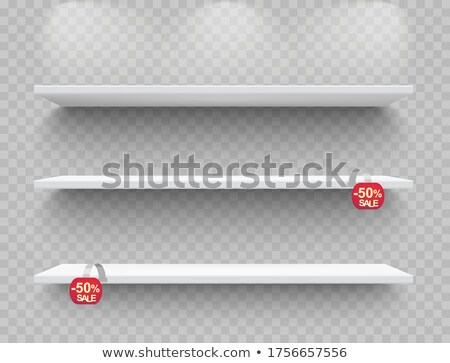 Shop shelves realistic with red sale wobblers. Empty storage racks. Store shelf. Vector Stock photo © Andrei_