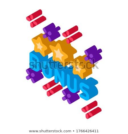 Bônus estrela logotipo isométrica ícone vetor Foto stock © pikepicture