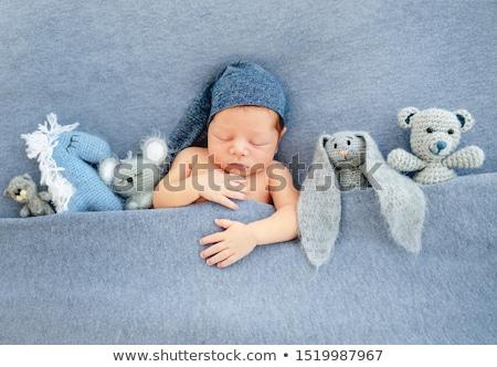 Zoete gebreid pluche deken mensen Stockfoto © dolgachov