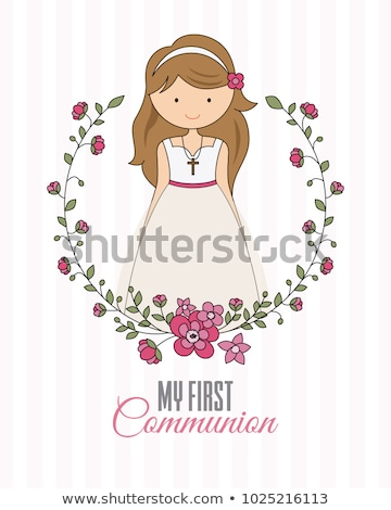 comunhão · meninas · vestido · branco · dia · primeira · comunhão · menina - foto stock © luiscar