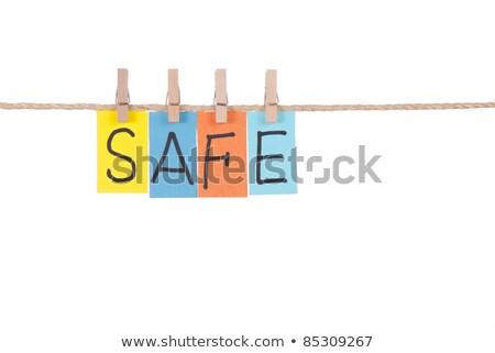 Széf fából készült szeg színes szavak kötél Stock fotó © Ansonstock