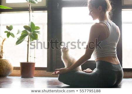 Smiling Caucasian Woman in Sports Bra White Background Stock photo © Qingwa