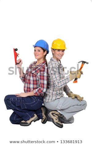 duo of happy craftswomen back to back Stock photo © photography33