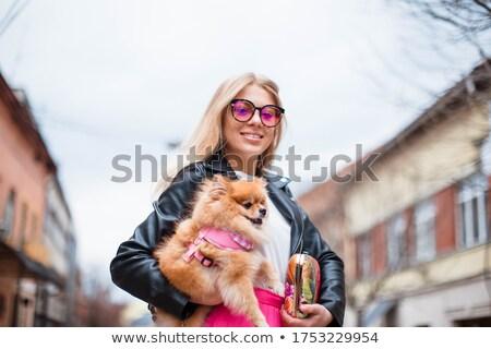 собака · голубой · платье · женщину - Сток-фото © Melpomene