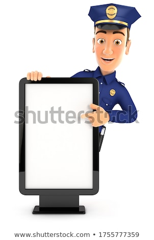 Policeman pointing to advertising board Stock photo © photography33