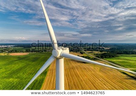 подробность ветровой турбины облака пейзаж металл энергии Сток-фото © broker