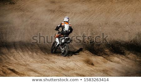 Motocross adam binicilik bisiklet boya tüm Stok fotoğraf © vlad_podkhlebnik