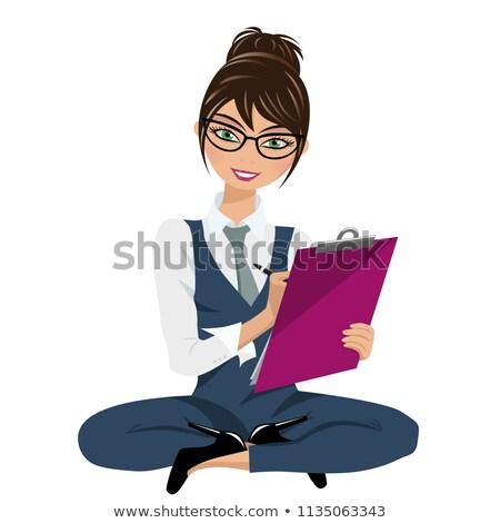 üzletasszony · ül · padló · mappák · fáradt · szürke - stock fotó © ruslanomega