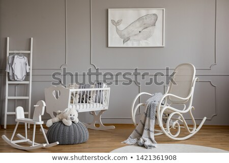 oude · houten · schommelstoel · stoel · meubels · witte - stockfoto © kokimk