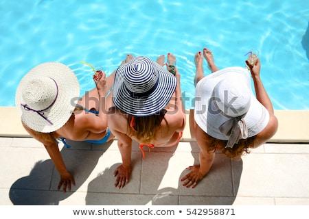 esmer · yüzme · havuzu · mutlu · güzellik · bikini · seyahat - stok fotoğraf © tobkatrina