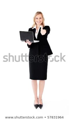 Kobieta interesu laptop biały tle przestrzeni pracownika Zdjęcia stock © wavebreak_media