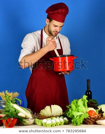 Férfi vegetáriánus étel piros lábas műanyag modell Stock fotó © compuinfoto