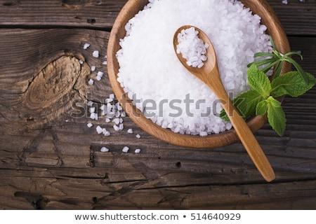 Sal marina romero cuchara de madera médicos spa bano Foto stock © joannawnuk
